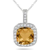 1 1/2 Carat Cushion Citrine and Diamond Halo Pendant in 10K White Gold