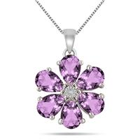 1 Carat Amethyst and Diamond Flower Pendant in .925 Sterling Silver