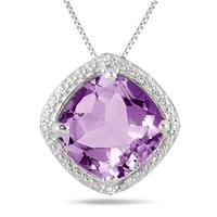 3.25 Carat Cushion Cut Amethyst and Diamond Pendant set in .925 Sterling Silver