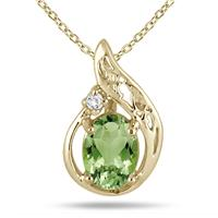 1 Carat Peridot and Diamond Pendant in 18K Gold Plated Sterling Silver