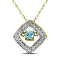 Blue Topaz and Diamond Dancer Pendant in .925 Sterling Silver
