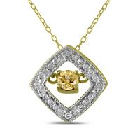 Citrine and Diamond Dancer Pendant in .925 Sterling Silver