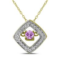 Amethyst and Diamond Dancer Pendant in .925 Sterling Silver