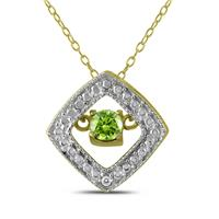 Peridot and Diamond Dancer Pendant in .925 Sterling Silver