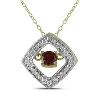Garnet and Diamond Dancer Pendant in .925 Sterling Silver