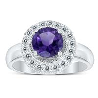Deals on Amethyst And White Topaz Halo Ring In .925 Sterling Silver