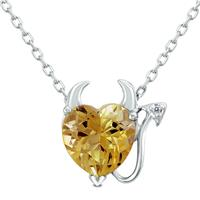 Deals on Citrine And White Topaz Devil Tail Pendnat Necklace