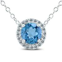 Blue Topaz and Created White Sapphire Halo Pendant Necklace