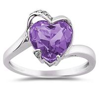 Heart Shaped Amethyst and Diamond Curve Ring in 14K White Gold