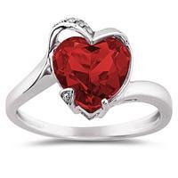 Heart Shaped Garnet and Diamond Ring in 14K White Gold