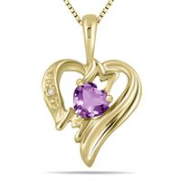 Amethyst and Diamond Heart MOM Pendant in 10K Yellow Gold
