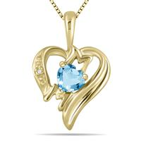 Blue Topaz and Diamond Heart MOM Pendant in 10K Yellow Gold