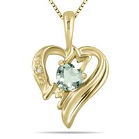 Green Amethyst and Diamond Heart MOM Pendant in 10K Yellow Gold