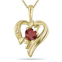 Garnet and Diamond Heart MOM Pendant in 10K Yellow Gold
