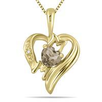 Smokey Quartz  and Diamond Heart MOM Pendant in 10K Yellow Gold