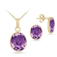Amethyst Quartz Bezel Set Pendant and Earring Set in .925 Sterling Silver