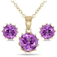 4 Carat Amethyst Pendant and Earring Set in 18K Gold Plated Sterling Silver