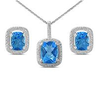 Deals on Blue Topaz And Diamond Pendant And Earring Jewelry Set