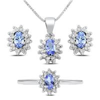 1 1/2 Carat TW Tanzanite  and Diamond Jewelry Set in .925 Sterling Silver