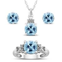 Deals on Aquamarine and White Topaz Pendant and Earring 3pc Jewelry Set