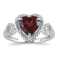 Garnet and Diamond Heart Ring in 10K White Gold