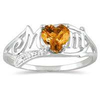Citrine and Diamond Heart Shaped MOM Ring in 10K White Gold