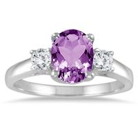 Amethyst and Diamond Three Stone Ring 14K White Gold