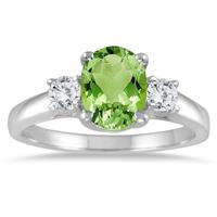1 3/4 Carat Peridot and Diamond Three Stone Ring 14K White Gold
