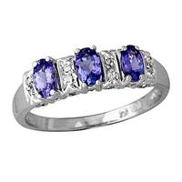 Three Stone Tanzanite and Diamond Ring 14kt White Gold