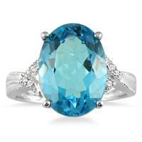 8 Carat Oval Swiss Blue Topaz and Diamond Ring in 10K White Gold
