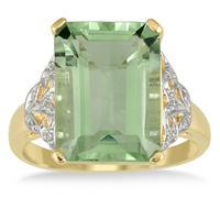 7 Carat Emerald Cut Green Amethyst and Diamond Ring 10K Yellow Gold