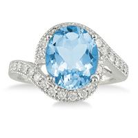 5 Carat Oval Blue Topaz and Diamond Ring in 10K White Gold