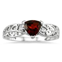 Trillion Cut Garnet and Diamond Ring in 14K White Gold