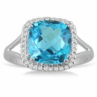 5 1/4 Carat Cushion Cut Blue Topaz and Diamond Ring in  14k White Gold