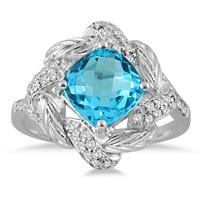 2.65 Carat Cushion Cut Blue Topaz and Genuine Diamond Ring in 10K White Gold