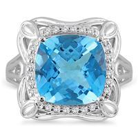 7 Carat Cushion Cut Blue Topaz and  Diamond Ring in 10K White Gold