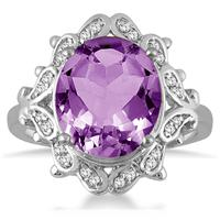 5 Carat Amethyst and Diamond Antique Ring in 10K White Gold