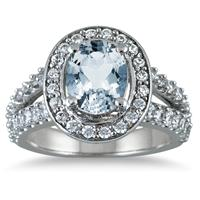2 Carat TW Oval Aquamarine and Diamond Ring in 14K White Gold