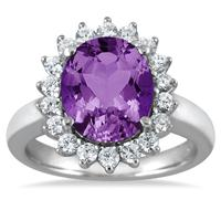 4 Carat Amethyst and Diamond Ring in 14K White Gold