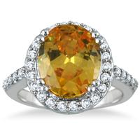 5 Carat Citrine and Diamond Ring in 14K White Gold