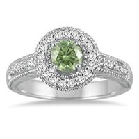 1/2 Carat Green Amethyst and Diamond  Ring in 10K White Gold