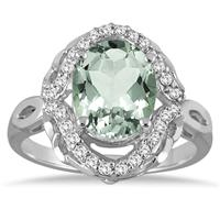 3 1/2 Carat Oval Green Amethyst and Diamond Ring in 10K White Gold