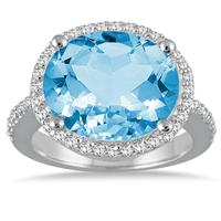 8 Carat Oval Blue Topaz and Diamond Ring in 14K White Gold