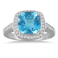 3 1/2 Carat Cushion Cut Blue Topaz and Diamond Ring in 14K White Gold
