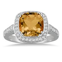 Cushion Cut Citrine and Diamond Ring in 14K White Gold