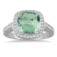 3 1/2 Carat Cushion Cut Green Amethyst and Diamond Ring in 14K White Gold