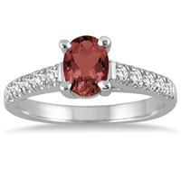 1 Carat Oval Garnet and Diamond Ring in 14K White Gold