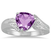 2 1/4 Carat Trillion Cut Amethyst and Diamond Ring in 10K White Gold
