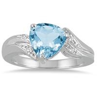2 1/4 Carat Trillion Cut Blue Topaz and Diamond Ring in 10K White Gold