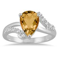 2 Carat Pear Shape Citrine and Diamond Ring in 10K White Gold